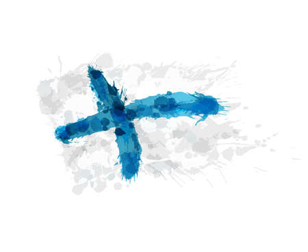 suomi: Finland flag made of colorful splashes Illustration