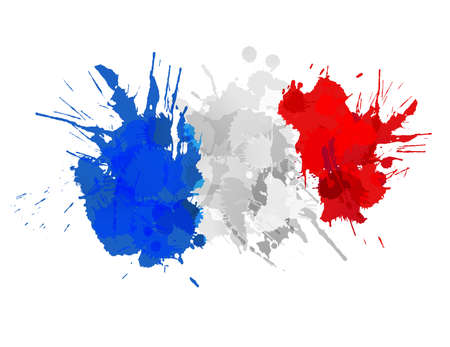 French flag made of colorful splashes Illusztráció