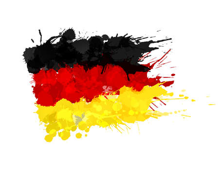 federal republic of germany: German flag made of colorful splashes