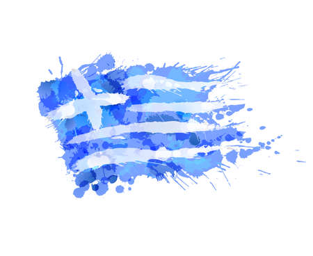 Greek flag made of colorful splashes