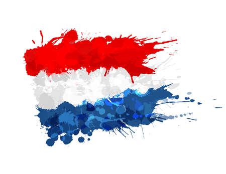 네덜란드의 국기 다채로운 밝아진 만든 일러스트