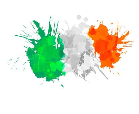 아일랜드의 국기 다채로운 스플래시 만든 일러스트