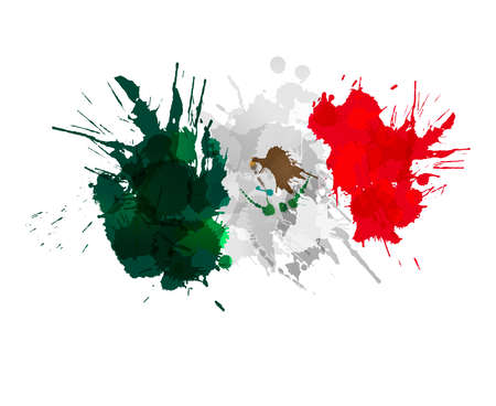 Mexican flag made of colorful splashes Çizim