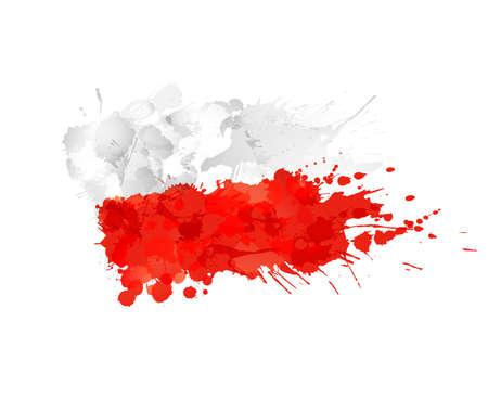 polish flag: Polish flag made of colorful splashes