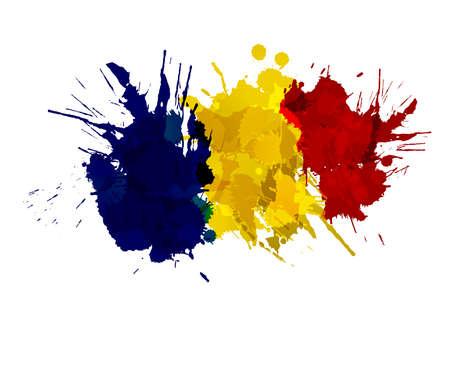 romania flag: Romanian flag made of colorful splashes