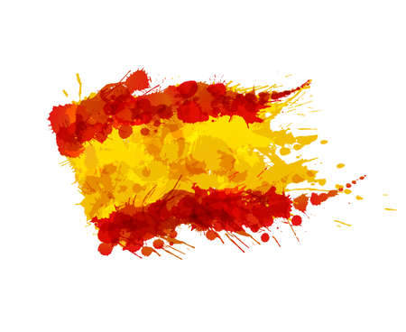 white flag: Spanish flag made of colorful splashes