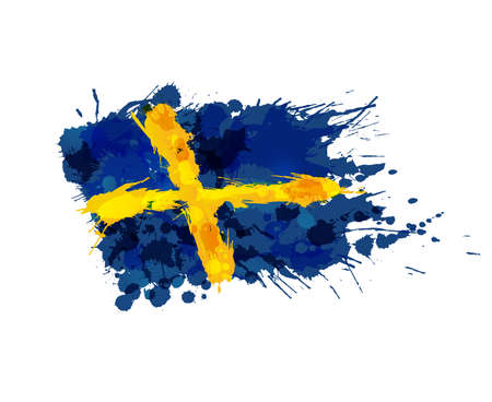 Vlag van Zweden gemaakt van kleurrijke spatten Stock Illustratie