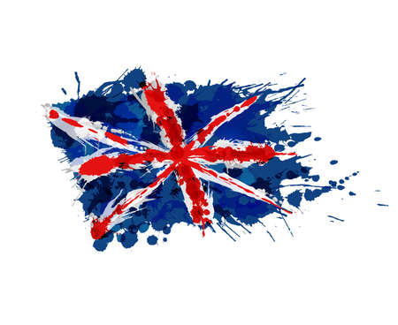Union Jack made of colorful splashes Illustration