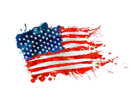 US flag made of colorful splashes