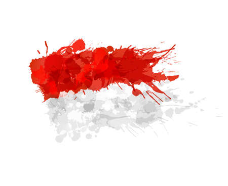 the indonesian flag: Indonesian flag made of colorful splashes