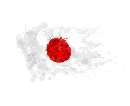 Japanese flag made of colorful splashes