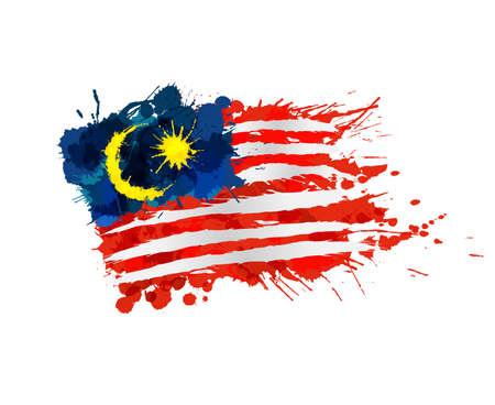 カラフルなしぶきから成っているマレーシアの旗