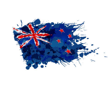 Flag of New Zealand made of colorful splashes Иллюстрация