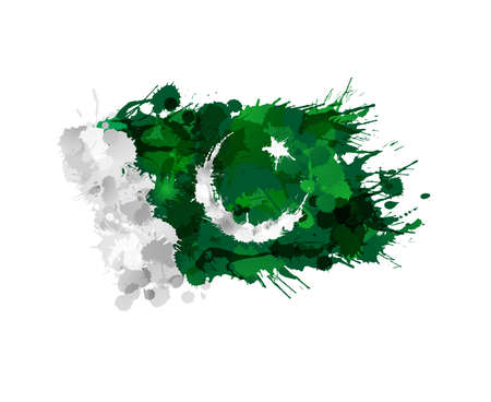 pakistan flag: Flag of Pakistan made of colorful splashes