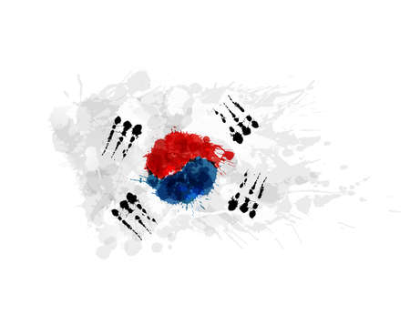 Flag of South Korea ( Republic of Korea ) made of colorful splashes Çizim