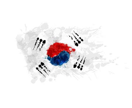 Vlag van Zuid-Korea (Republiek Korea) gemaakt van kleurrijke spatten Stock Illustratie