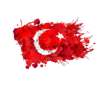 Vlag van Turkije gemaakt van kleurrijke spatten Stock Illustratie