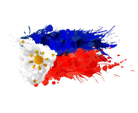 필리핀의 국기 다채로운 밝아진 만든