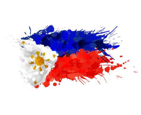 Vlag van Filipijnen gemaakt van kleurrijke spatten Stock Illustratie