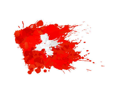 Swiss flag made of colorful splashes Çizim