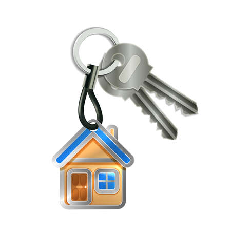 sell house: Keychain with house and two keys isolated