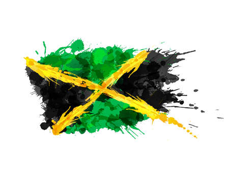 jamaican: Flag of Jamaica made of colorful splashes Illustration
