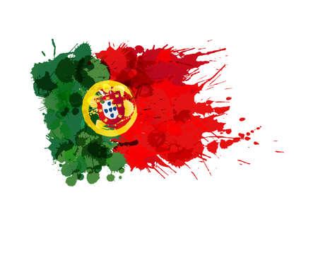 カラフルなしぶきから成っているポルトガルの旗  イラスト・ベクター素材