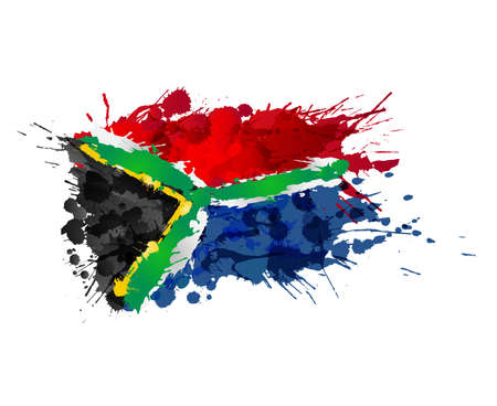 South African flag made of colorful splashes Illusztráció