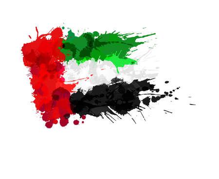arab flags: United Arab Emirates flag made of colorful splashes Illustration