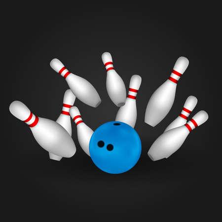 Bowl and bowling pins. Bowling concept. Vector
