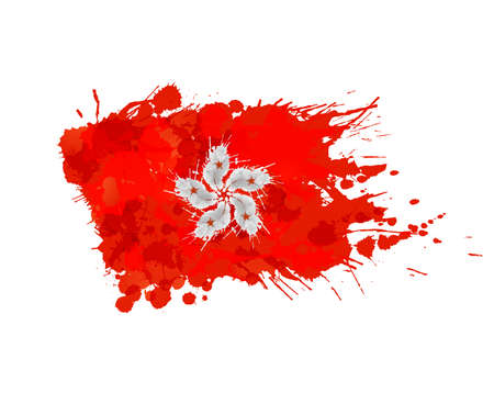hk: Flag of Hong Kong made of colorful splashes