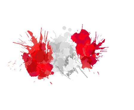 bandera de peru: Bandera de Perú de las salpicaduras de colores