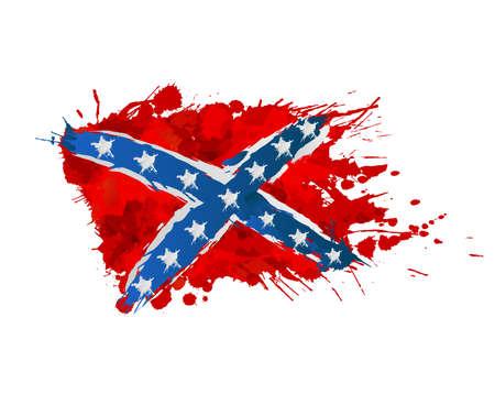 Confederation opstand vlag gemaakt van kleurrijke spatten Stock Illustratie