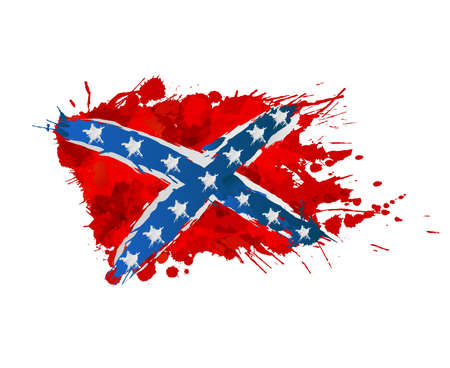 Confederation rebellion flag made of colorful splashes Vector