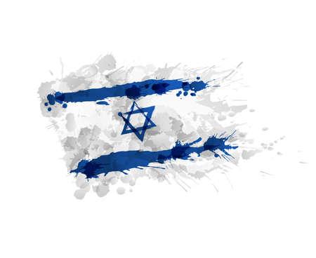 Flag of Israel made of colorful splashes Illustration