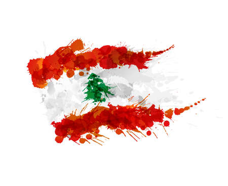 Flag of Lebanon made of colorful splashes