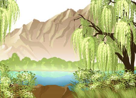 전원시의: 버드 나무와 산 목가적 인 풍경