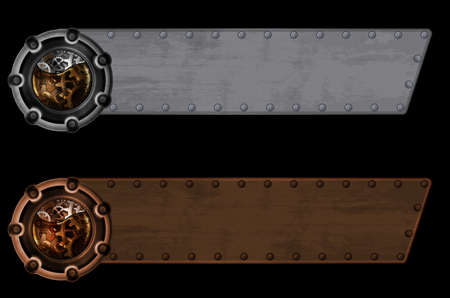 Steampunk banner template Vector