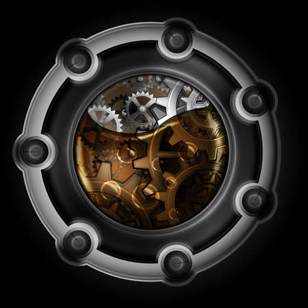 Steampunk abstract mechanism. Gears in machine oil. Vector