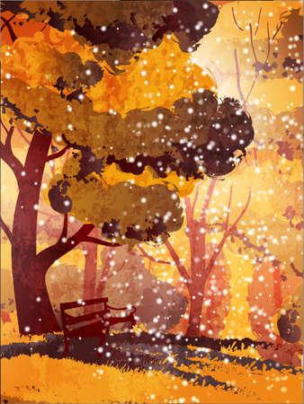 autumn park: Autumn park. Trees and bench