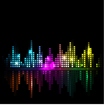 Bright sound wave or cityscape background Vector