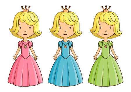 little girl dress: Little girl wearing princess costume Illustration