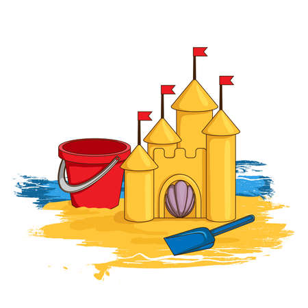 castle sand: Castillo de arena de la historieta Vectores