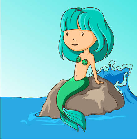 Little mermaid sitting on the rock Vector