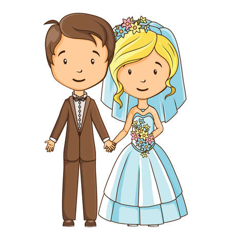 Cartoon groom and bride