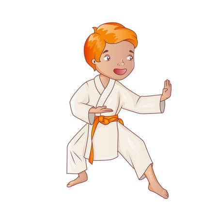 karate boy: Little boy wearing kimono practicing karate Illustration