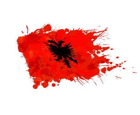 albanian: Albanian flag made of colorful splashes Illustration