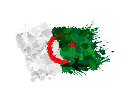 algeria: Algerian flag made of colorful splashes Illustration