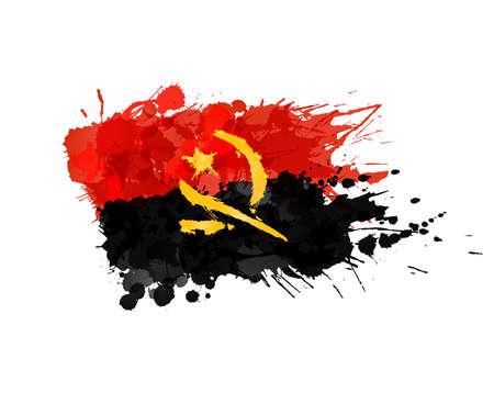 angola: Flag of Angola made of colorful splashes