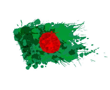 bangladesh: Flag of Bangladesh made of colorful splashes Illustration
